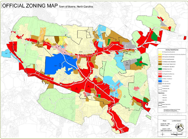 Town Of Boone Zoning Map Planning Studio